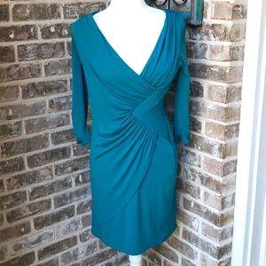 Coast Teal Lined Curve Hugging Ruched Deep V Dress